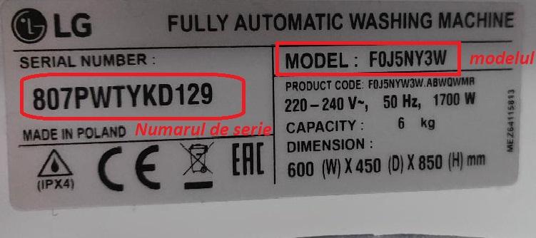 Masini de spalat rufe LG - descifrare coduri